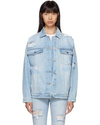 Stella McCartney - Blue Shoulder Rip Denim Jacket - Lyst