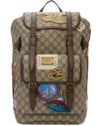 Gucci - Beige Gg Supreme Courrier Backpack - Lyst