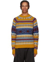 Acne Studios - Yellow Striped Jacquard Crewneck Sweater - Lyst