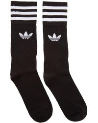 adidas Originals - Three-pack Black Solid Crew Socks - Lyst