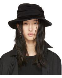 Y's Yohji Yamamoto - Black Gather Cloche Hat - Lyst