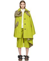 Sacai - Manteau jaune et brun clair Cape - Lyst
