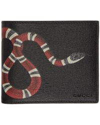 Gucci - Black Leather Snake Wallet - Lyst
