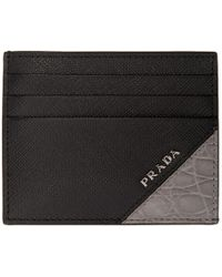 Prada - Black Croc Card Holder - Lyst