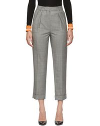 Victoria Beckham - Black And White High Waisted Trousers - Lyst
