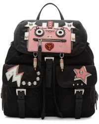 Prada - Black Nylon Robot Backpack - Lyst