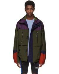 Martine Rose - Green And Purple Colorblock Raincoat - Lyst