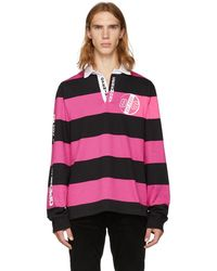 Opening Ceremony - Pink And Black Striped Rugby Polo - Lyst