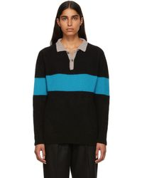 The Elder Statesman - Black And Blue Rugby Stripe Polo - Lyst