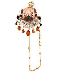 Dolce & Gabbana - Gold Pug Brooch - Lyst