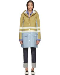 Marni - Blue And Beige Hooded Double Stripe Coat - Lyst