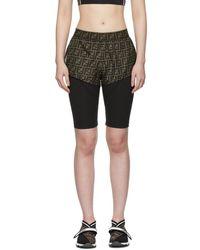 Fendi - Black And Brown Forever Biker Shorts - Lyst
