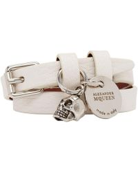 Alexander McQueen - White And Silver Double Wrap Bracelet - Lyst