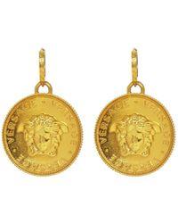420452c045b5 Versace - Gold Medusa Pendant Earrings - Lyst