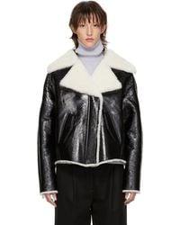 Yves Salomon - Black Patent Shearling Jacket - Lyst