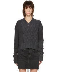 McQ - Grey Patched Cable V-neck Sweater - Lyst