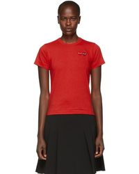 Play Comme des Garçons - Red Double Heart Patch T-shirt - Lyst