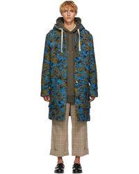 Acne Studios - Blue And Green Wool Duffle Coat - Lyst