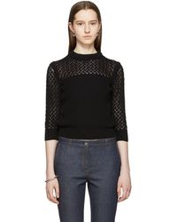 Bottega Veneta - Black Cropped Crewneck Sweater - Lyst