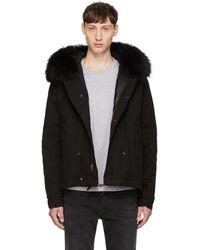 Mr & Mrs Italy - Black Fur Collar Mini Parka - Lyst