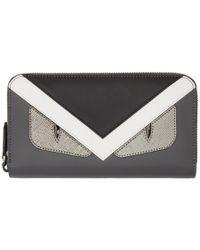 Fendi - Grey And Black Bag Bugs Zip Around Wallet - Lyst