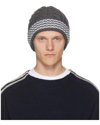 Lyst - Thom Browne Ribbed Cashmere Beanie in Gray for Men - Save ... db315692fc6e