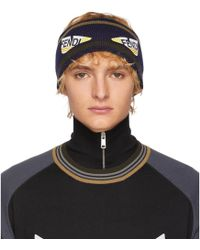 Fendi - Navy And Brown Wool Bag Bugs Headband - Lyst