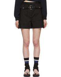 3.1 Phillip Lim - Black Belted Flap Pockets Shorts - Lyst