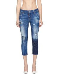 DSquared² - Blue Acid Green Spots Cool Girl Cropped Jeans - Lyst