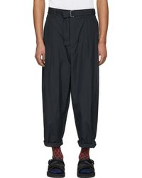 3.1 Phillip Lim - Navy Relaxed Pleated Belt Trousers - Lyst