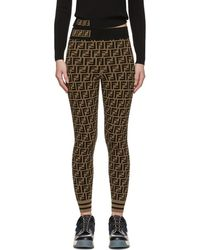 Fendi Brown And Black Forever Leggings