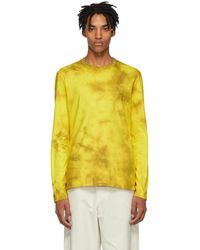 Helmut Lang - Yellow And Brown Dart Back Long Sleeve T-shirt - Lyst