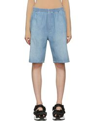 MM6 by Maison Martin Margiela - Blue Denim Elastic Waist Shorts - Lyst