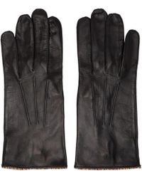 Paul Smith - Black Lambskin Striped Pipping Gloves - Lyst