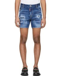 DSquared² - Blue Denim Dan Commando Shorts - Lyst