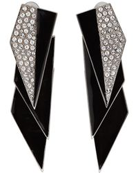 Saint Laurent - Silver And Black Crystal Smoking Earrings - Lyst