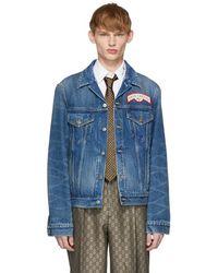 Gucci - Blue Denim Oversize Patches Jacket - Lyst