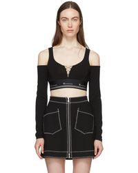 T By Alexander Wang - Black Cold Shoulder Cropped T-shirt - Lyst