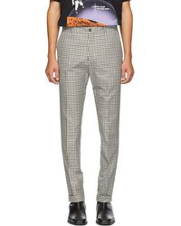 KENZO - Blue And White Twill Check Trousers - Lyst