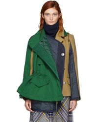 Sacai - Green And Beige Melton Hooded Jacket - Lyst