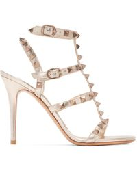 179213b742d Lyst - Valentino Rockstud 105 Leather Heeled Gladiator Sandals in White