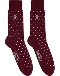 Alexander McQueen - Red Dot Print Socks - Lyst