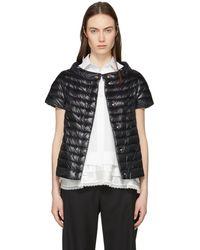 Herno | Black Down Cap Sleeve A-line Jacket | Lyst