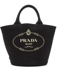 Prada - Black Canvas Tote - Lyst