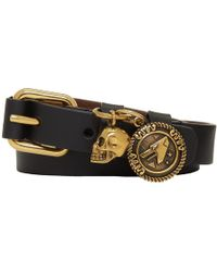Alexander McQueen - Black And Gold Wide Double Wrap Bracelet - Lyst
