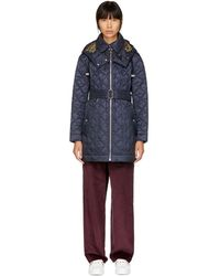 Burberry - Navy Baughton Quilted Coat - Lyst