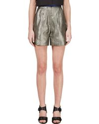 ROKSANDA - Grey Metallic Francine Shorts - Lyst