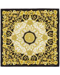 Versace - Black And Gold Silk Barroco Scarf - Lyst