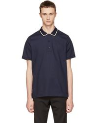 Burberry - Navy Striped Collar Polo - Lyst