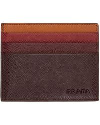 Prada | Brown Colorblocked Saffiano Card Holder | Lyst